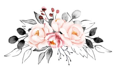 Carta da parati Peonies, watercolor pink and gray flowers. Floral summer vintage illustration isolated on white background. Hand drawing. Perfectly for wedding, birthday, party, other greetings design.