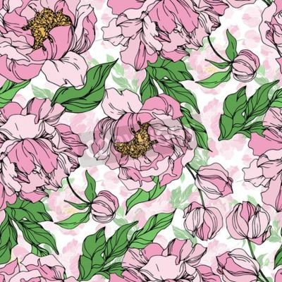 Carta da parati Peony floral botanical flowers. Wild spring leaf wildflower isolated. Black and white engraved ink art. Seamless background pattern. Fabric wallpaper print texture.