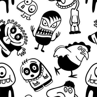 Carta da parati Personaggi dei cartoni animati divertenti seamless.