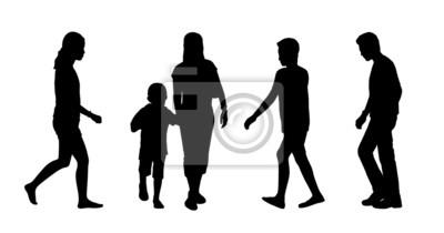 Sagome Persone Che Camminano.Carta Da Parati Persone Asiatico Che Camminano Sagome Allaperto Set 2