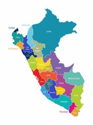 Carta da parati Perù Carta Regioni Vector