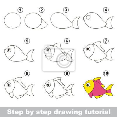 Pesce divertente. disegno tutorial. carta da parati • carte da ... bd44ad5e3a7f