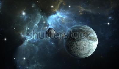Carta da parati Pianeta extrasolare. Pianeta di pietra con la luna sulla nebulosa di sfondo. Illustrazione 3D