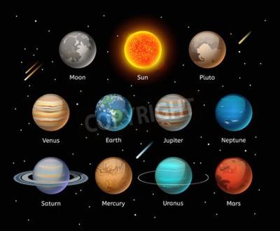 Carta da parati Pianeti colorato vettore impostato su sfondo scuro, insieme Planet vettoriale. icone 3D pianeta elementi infographic. Pianeti raccolta silhouette. Pianeti illustrazione icone 3D