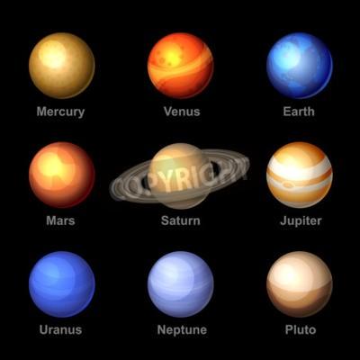 Carta da parati Pianeti colore lucido del sistema solare Icone. Vettore.