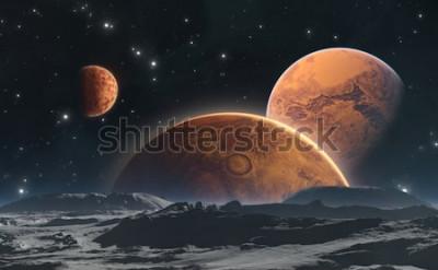 Carta da parati Pianeti rocciosi e luna, sfondo dello spazio. Illustrazione 3D