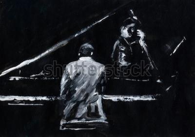 Carta da parati Pianista e contrabbassista. Concerto di una band jazz. Il pianista e il contrabbasso si esibiscono sul palco. Elegante pittura astratta in bianco e nero. Vista posteriore e laterale. Musicisti con str