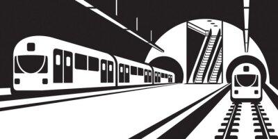 Carta da parati Piattaforma della stazione della metropolitana con treni - illustrazione vettoriale