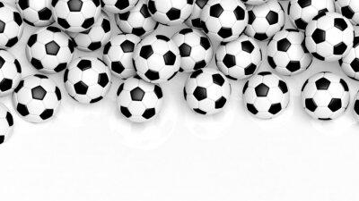 Carta da parati Pile di palle da calcio classico isolato su bianco con copia-spazio