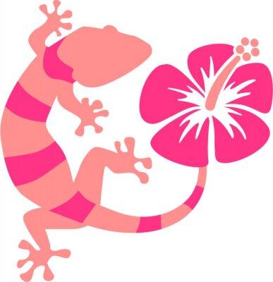 Carta da parati Pink Gecko with hibiscus