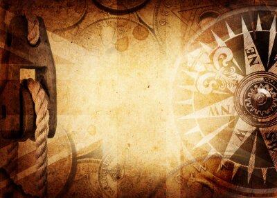 Carta da parati Pirate and nautical theme grunge background