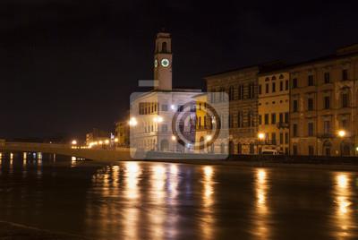 Carta da parati Pisa di notte dal fiume.