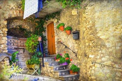 Carta da parati pittoriche antiche strade dei villaggi italiani