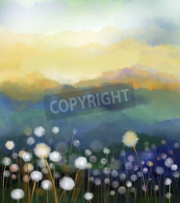 Carta da parati Pittura a olio astratta fiori bianchi di campo con colori soft. Dipinti ad olio bianco fiore di tarassaco nei prati. Primavera stagionalità floreale con blu - verde collina in background.