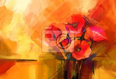 Pittura a olio astratta natura morta di fiori di papavero rosso ...