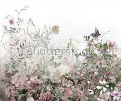 Carta da parati Pittura ad acquerello astratto fiori colorati. Primavera multicolore in natura