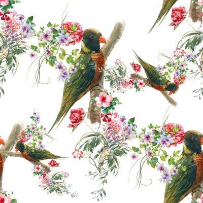 Carta da parati Pittura ad acquerello con uccelli e fiori, pattern senza soluzione di continuità su sfondo bianco