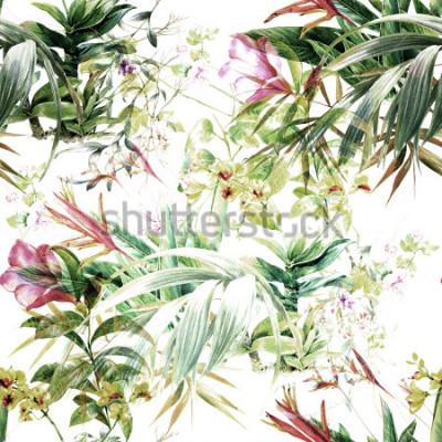 Carta da parati Pittura ad acquerello di foglie e fiori, modello senza soluzione di continuità su sfondo bianco