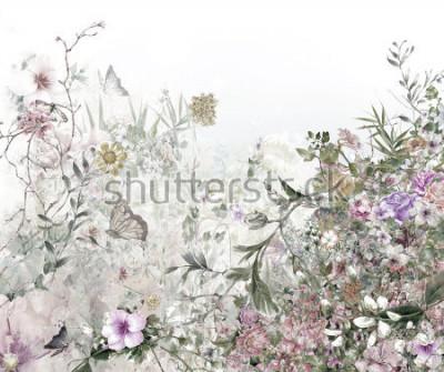 Carta da parati pittura ad acquerello di foglie e fiori, su sfondo bianco