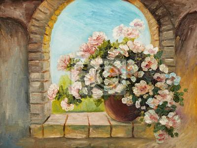 Pittura ad olio - bouquet di fiori su un davanzale di pietra, carta ...