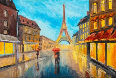 Carta da parati pittura ad olio di Torre Eiffel, Francia