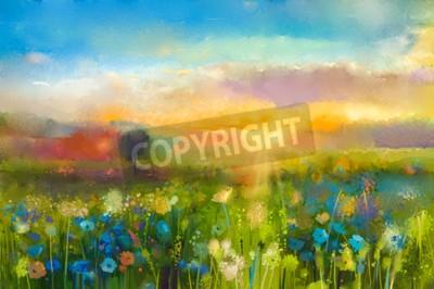 Carta da parati Pittura ad olio fiori di tarassaco, fiordaliso, margherita nei campi. Tramonto paesaggio prato con fiori di campo, collina e il cielo in arancione e blu il colore di sfondo. estate vernice della mano