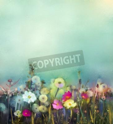 Carta da parati Pittura ad olio fiori di tarassaco, papavero, margherita nei campi. Mano campo Wildflowers vernice in estate prato. Natura di primavera floreale stagionale con il blu - verde sfondo di colore morbido.
