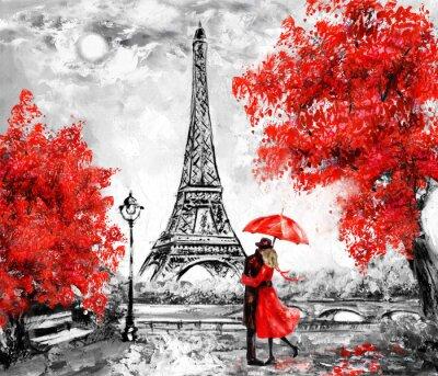 Carta da parati Pittura ad olio, Parigi. Paesaggio urbano europeo. Francia, Carta da parati, Torre Eiffel. Nero, bianco e rosso, arte moderna. Coppia sotto un ombrello sulla strada