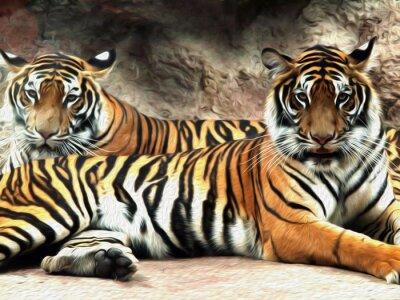 Carta da parati pittura ad olio Tiger / foto pittura effetto olio