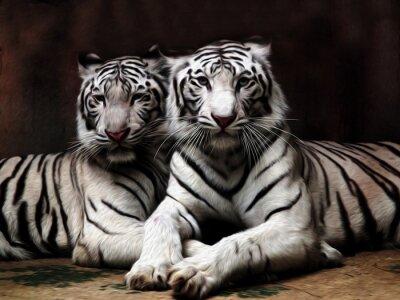 Carta da parati pittura ad olio White Tiger / foto pittura effetto olio