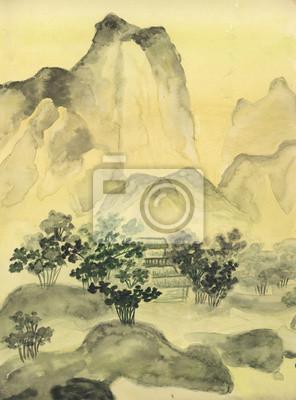 Carta Da Parati O Pittura.Carta Da Parati Pittura Cinese Colline