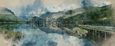 Carta da parati Pittura dell'acquerello di Digital delle imbarcazioni a remi del paesaggio di panorama sul lago con il molo contro il fondo della catena montuosa