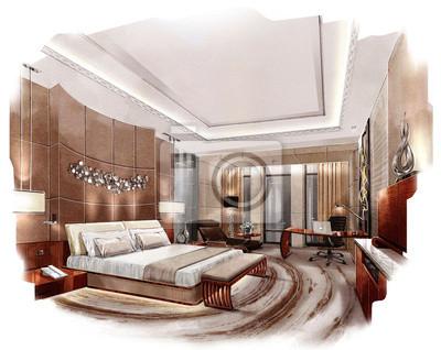 Carta da parati: Pittura interni rendering, il rendering camera da letto
