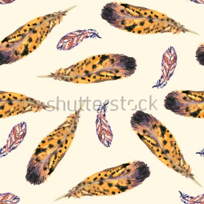 Carta da parati Piume, morbido sfondo giallo, disegno senza cuciture, illustrazione dell'acquerello dipinto a mano