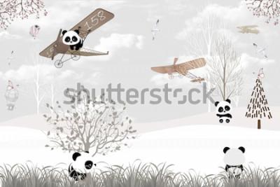 Carta da parati Playing cute pandas kids room wallpaper design