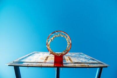 Carta da parati Plexiglass bordo street basket con il cerchio sul campo all'aperto