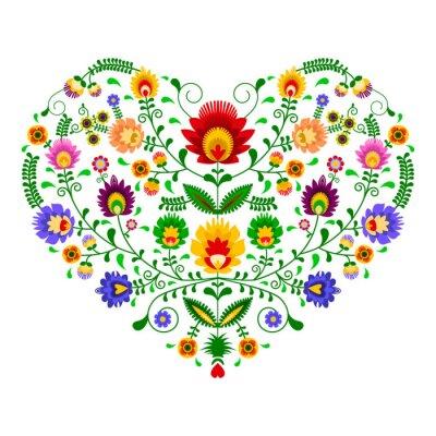 Carta da parati Polski folklor - wzór w kształcie serca