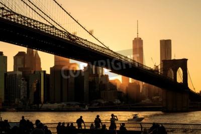 Carta da parati Ponte di Brooklyn al tramonto, New York City