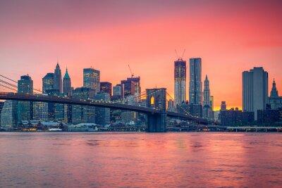 Carta da parati Ponte di Brooklyn e Manhattan al crepuscolo