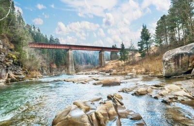 Carta da parati ponte sul fiume di montagna