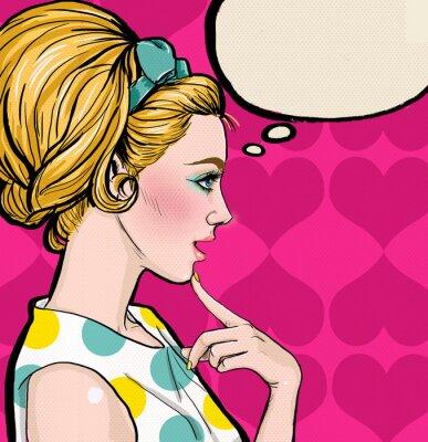 Carta da parati Pop Art  blond girl in profile with the speech bubble.