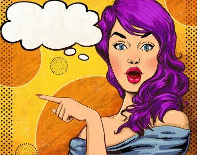 Carta da parati Pop Art illustration of girl with the speech bubble.Fashion