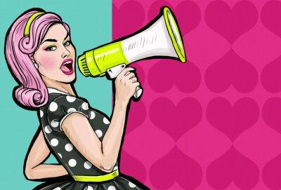 Carta da parati Pop art ragazza con il megafono. Donna con altoparlante.