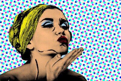 Carta da parati Pop art woman fumetto stile, poster retrò
