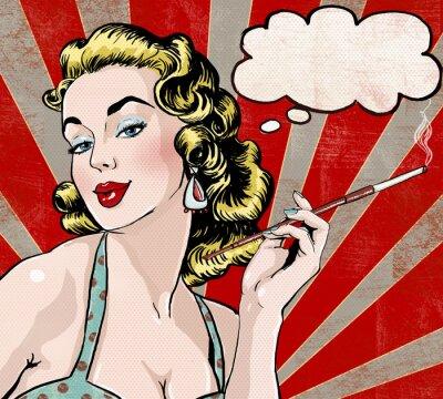 Carta da parati Pop Art  woman with the speech bubble and cigarette.