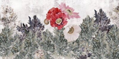Carta da parati Poppies flowers illustration. Poppies painted on the grunge wall. Beautiful design for card, postcard, picture, mural, wallpaper, photo wallpaper.