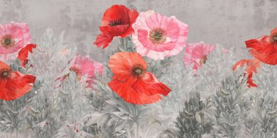 Carta da parati Poppies flowers illustration. Poppies painted on the grunge wall. Beautiful design for postcard, picture, mural, wallpaper, photo wallpaper.