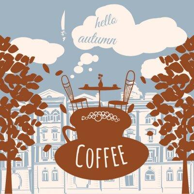 Carta da parati Postcard ciao autunno, caffè, casa, foglie di autunno, vettore, bandiera, illustrazione
