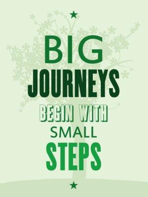 Carta da parati poster motivazionale - grandi viaggi iniziano con piccoli passi