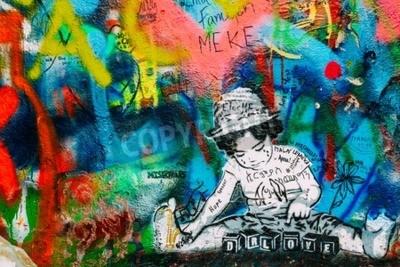 Carta da parati Praga, Repubblica Ceca - 10 ottobre 2014: Posto famoso a Praga - Il muro di John Lennon. Il muro è pieno di John Lennon che ha ispirato i graffiti ei testi delle canzoni dei Beatles